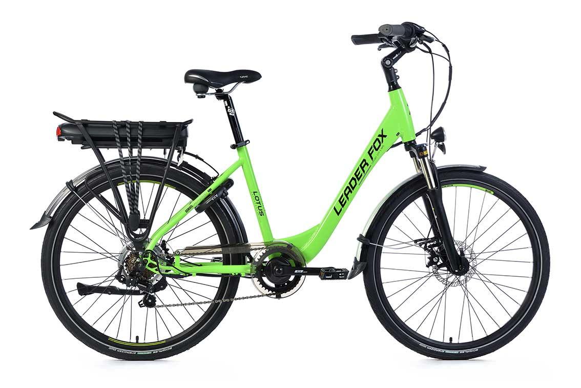 Bicicleta Electrica Leader Fox LOTUS Lady, 7 viteze, 5 trepte de asistare, suspensie, lock out, frana pe disc Tektro, acumulator LG 16 Ah