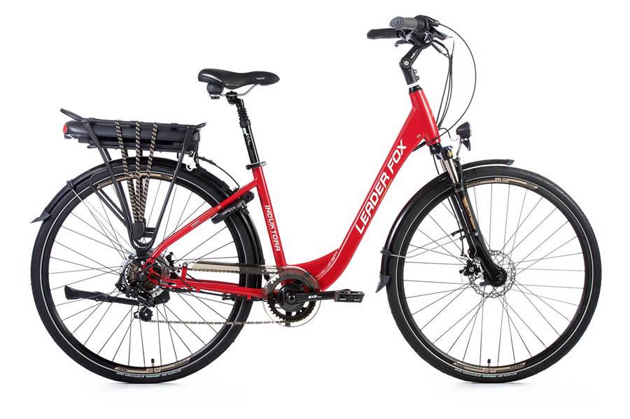 Bicicleta Electrica Leader Fox INDUKTORA, 7 viteze, 5 trepte de asistare, suspensie, lock out, frana pe disc Tektro, acumulator LG 16 Ah