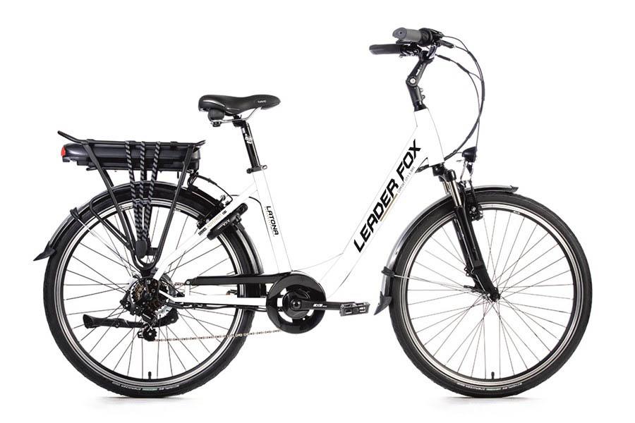 Bicicleta Electrica Leader Fox LATONA Lady, 7 viteze, 7 trepte de asistare, suspensie, frana Tektro, acumulator LG 13 Ah